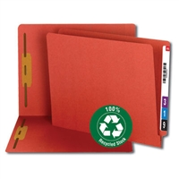 Smead 100% Recycled End Tab Fastener File Folder, Red (34171)