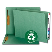 Smead 100% Recycled End Tab Fastener File Folder, Green (34172)