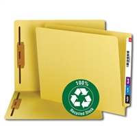 Smead 100% Recycled End Tab Fastener File Folder, Yellow (34173)