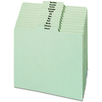 Smead Pressboard Guides, Plain 1/3-Cut Tab Center Position (Jan.-Dec), Letter Size, Gray/Green, 12/Set (50365)