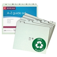 Smead Pressboard Guides, Plain 1/5-Cut Tab (A-Z), Set of 25, Letter Size, Gray/Green, 25/Set (50376)