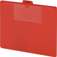 Smead 51920 Poly Out Guides, Top Tab, Letter Size, Red, 50/Bx