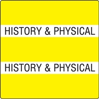 Patient Chart Index Tabs, History & Physical, Yellow, 1-1/2 x 1-1/2, 102/Pk (52107)
