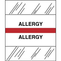 Medical Chart Index Tabs, Allergy, Red, 1/2 x 1-1/4, 100/Pk (54522)