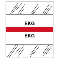 Medical Chart Index Tabs, EKG, Red, 1/2 x 1-1/4, 100/Pk (54525)