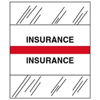 Medical Chart Index Tabs, Insurance, Red, 1/2 x 1-1/4, 100/Pk (54529)