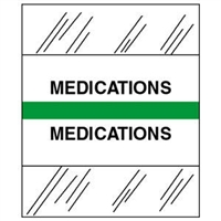 Medical Chart Index Tabs, Medications, Lt Green, 1/2 x 1-1/4, 100/Pk (54532)