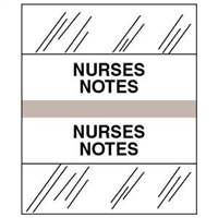 Medical Chart Index Tabs, Nurses Notes., Gray, 1/2 x 1-1/4, 100/Pk (54534)