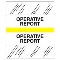 Medical Chart Index Tabs, Operative Report, Yellow, 1/2 x 1-1/4, 100/Pk (54535)
