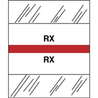 Medical Chart Index Tabs, RX, Red, 1/2 x 1-1/4, 100/Pk (54541)