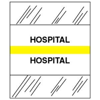 Medical Chart Index Tabs, Hospital, Yellow, 1/2 x 1-1/4, 100/Pk (54544)