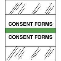 Medical Chart Index Tabs, Consent Forms, Lt Green, 1/2 x 1-1/4, 100/Pk (54552)
