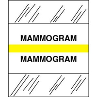 Medical Chart Index Tabs, Mammogram, Yellow, 1/2 x 1-1/4, 100/Pk (54560)