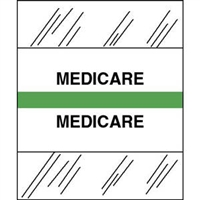 Medical Chart Index Tabs, Medicare, Lt Green, 1/2 x 1-1/4, 100/Pk (54562)