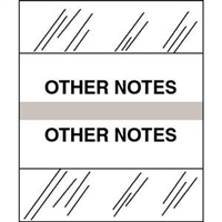 Medical Chart Index Tabs, Other Notes, Gray, 1/2 x 1-1/4, 100/Pk (54565)