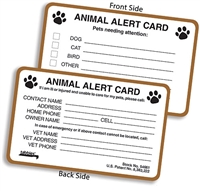 "Animal Alert Card 2-1/8"" H x 3-3/8"" W, 100/Box"