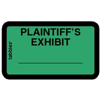 Legal Exhibit Labels 58025, Plaintiff's Exhibit, 1-5/8 x 1, Green 252/Pack
