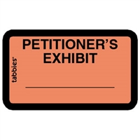 Legal Exhibit Labels 58026, Petitioner's Exhibit, 1-5/8 x 1, Orange 252/Pack