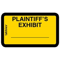 Legal Exhibit Labels 58094, Plaintiff's Exhibit, 1-5/8 x 1, Yellow 252/Pack
