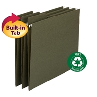 Smead 100% Recycled FasTab Hanging File Folder, Std. Green, 20/Box (64038)