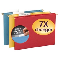 Smead Assorted Colored TUFF Hanging Folders with Easy Slide Tab (64040)