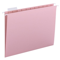 Smead Hanging File Folders, 1/5-Cut Tab, Letter Size, Pink, 25/Bx (64066)