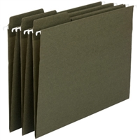 Smead 100% Recycled FasTab Hanging File Folder, Moss, 20/Box (64137)