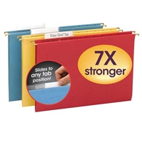 Smead TUFF Hanging Folder w/ Easy Slide Tab 64140 1/3-Cut Sliding Tab Legal Assorted Colors