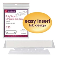 Smead Poly Tab, 1/3-Cut Tab, Clear, 25/Pack (64615)