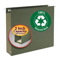 Smead 100% Recycled Hanging Box Bottom File Folder, Green (65090)