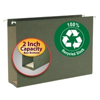 Smead 100% Recycled Hanging Box Bottom Folder, Legal, Green (65095)