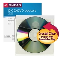 Smead Self-Adhesive Poly CD/DVD Pocket, Clear, 10/Pack (68144)