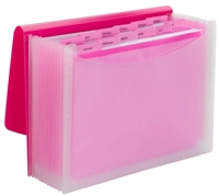 Smead Poly Expanding Files - 12 Pockets - Pink/Clear