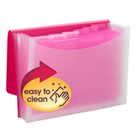 Smead Poly Expanding Files - 7 Pockets - Pink/Clear