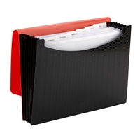 Smead Poly Expanding Files - 7 Pockets - Red/Black