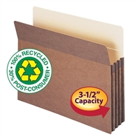 "Smead 100% Recycled File Pocket 3-1/2"" Exp Letter Redrope (73205)"