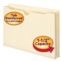 "Smead File Jacket, Reinforced Tab, 1-1/2"" Exp, Legal, Manila (76540)"