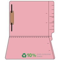 "Colored Folders, End Tab, Letter Size, 3/4"" Exp, Fastener Pos 1, 11pt Pink, 50/Box"