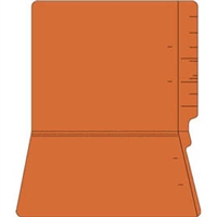 "Colored Folders, End Tab, Letter Size, 3/4"" Exp, No Fasteners, 11pt Orange, 100/Box"