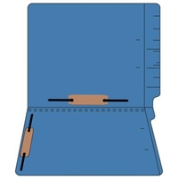 "Colored Folders, End Tab, Letter Size, 3/4"" Exp, Fastener Pos 3/5, 11pt Dk. Blue, 50/Box"