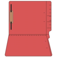"Colored Folders, End Tab, Letter Size, 3/4"" Exp, Fastener Pos 1, 11pt Red, 50/Box"