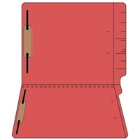 "Colored Folders, End Tab, Letter Size, 3/4"" Exp, Fastener Pos 1/3, 11pt Red, 50/Box"