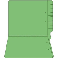 "Colored Folders, End Tab, Letter Size, 3/4"" Exp, No Fasteners, 11pt Green, 100/Bx"