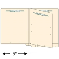 "Classification Folders, End Tab, Letter Size, Drop Front, 3/4"" Exp, 4 Fasteners, 1 Divider, 11pt Manila, 25/Box"