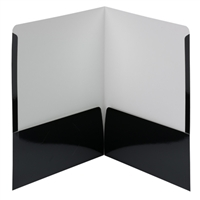 Smead High Gloss Two-Pocket Folders, Letter Size, Black, 25/Bx (87874)