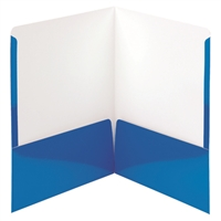 Smead High Gloss Two-Pocket Folders, Letter Size, Blue, 25/Bx (87875)