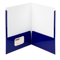 Smead High Gloss Two-Pocket Folders, Letter Size, Navy, 25/Bx (87877)