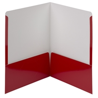 Smead High Gloss Two-Pocket Folders, Letter Size, Red, 25/Bx (87880)