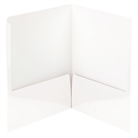 Smead High Gloss Two-Pocket Folders, Letter Size, White, 25/Bx (87883)