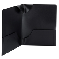 Smead Poly Lockit Two-Pocket Folders, Letter Size, Black, 25/Bx (87941)
